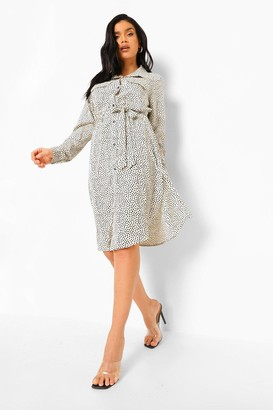boohoo Polka Dot Belted Midi Shirt Dress