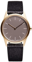 Uniform Wares C33 Textured Calf Leather Goldtone Analog Watch