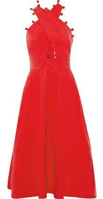 Oscar de la Renta Pompom-trimmed Cotton-blend Midi Dress