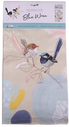 The Linen Press Organic Cotton Wild Blue Wren Pastel Tea Towel