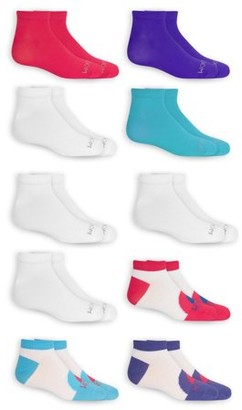 Fruit of the Loom Girl's Low Cut Socks, 10 Pack, Sizes S-L