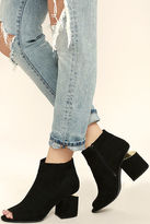 Qupid Sweet Slice Black Suede Peep-Toe Ankle Booties