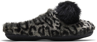 Toms Grey Leopard Faux Fur Ivy Slipper
