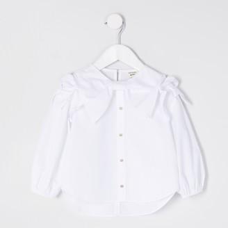 River Island Mini girls White bow shirt