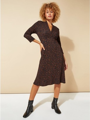 M&Co Roman Originals animal print v-neck fit and flare dress