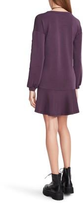 Betsey Johnson Button Sleeve Flounce Hem Shift Dress