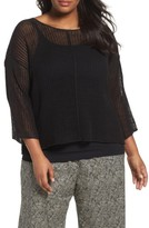 Eileen Fisher Plus Size Women's Organic Linen Mesh Knit Top