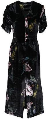 Markus Lupfer Ruched Floral-print Velvet Midi Dress