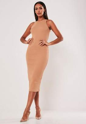 Missguided Tan Heavy Rib Picot Trim Midi Dress