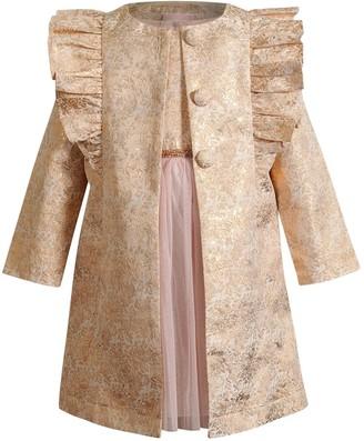 Youngland Girls 4-6x 2-Piece Metallic Bodice Dress & Ruffle Coat Set