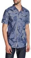 Triple Five Soul Leaf Print Regular Fit Shirt