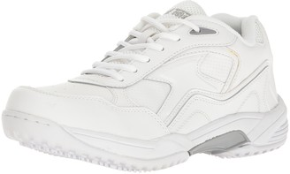 AdTec Men's White Lace Work Shoe - Slip Resistant Breathable Comfortable + Affordable Memory Foam Insole