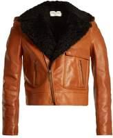 Saint Laurent Shearling-lapel leather biker jacket