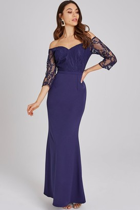Little Mistress Erin Navy Lace Bardot Maxi Dress