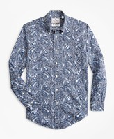 Brooks Brothers Luxury Collection Milano Slim-Fit Sport Shirt, Button-Down Collar Large Paisley Print