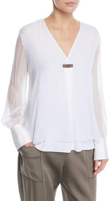 Brunello Cucinelli V-Neck Sheer Long-Sleeve Silk Chiffon Layered Blouse w/ Monili Tab