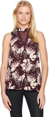 Taylor & Sage Women's Swiss Dot Mesh Floral Print Hi Neck Tank Top