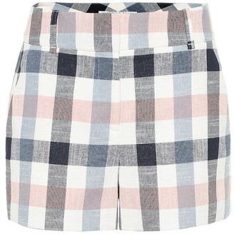 Veronica Beard Ilene checked cotton-blend shorts