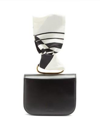 Jil Sander Scarf-handle Leather Clutch Bag - Black