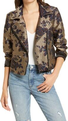 Blank NYC Floral Brocade Moto Jacket