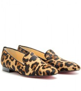 Christian Louboutin HENRIETTE HAIRCALF SLIPPER-STYLE LOAFERS