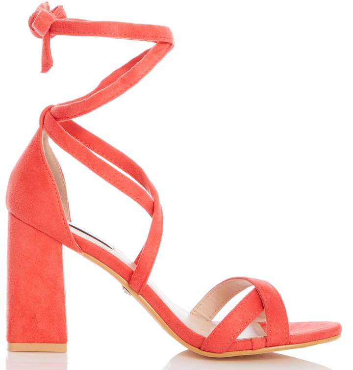 0538c617497 Womens *Quiz Coral Tie Up Block Heel Sandals