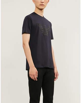 Emporio Armani Velvet-trimmed cotton T-shirt