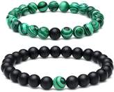 Aobei Pearl Aobei Long Distance Bracelet with Black Matte Agate & Green Malachite Beads His and Hers Couple Matching Bracelet Jewelry