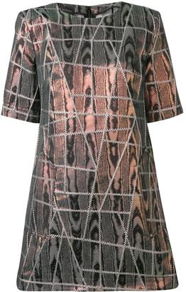 Talbot Runhof Iridescent Geometric Stitched Dress
