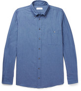 Richard James Button-down Collar Brushed Cotton-jacquard Shirt - Blue