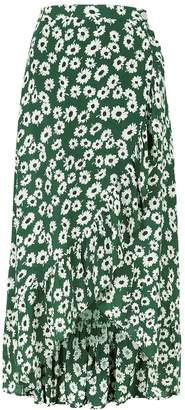 Rails Nova Green Floral-print Wrap Skirt