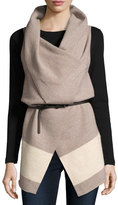 Joie Ligere Colorblock Belted Wool Vest