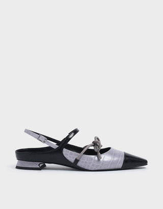 Charles & Keith Croc-Effect Mary Jane Bow Flats