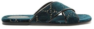Gucci GG Velvet Slide Sandal - Navy