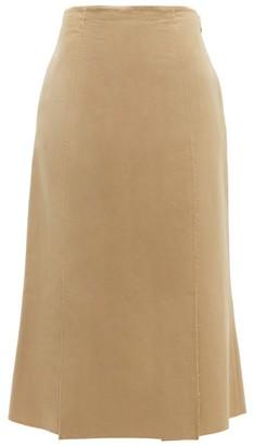 Brock Collection Piettraluna Fluted-hem Cotton Skirt - Beige