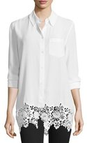 Equipment Reese Button-Front Lace-Hem Blouse, Bright White