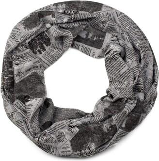 styleBREAKER destroyed vintage-look newspaper print loop tube scarf scarf kerchief unisex 01017043