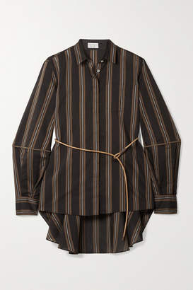 Brunello Cucinelli Belted Beaded Striped Cotton And Silk-blend Shirt - Brown