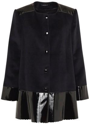 Sadie Cashmere Wool & Leather Coat Black