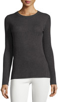 Neiman Marcus Long-Sleeve Ribbed Sweater, Charcoal Heather Gray