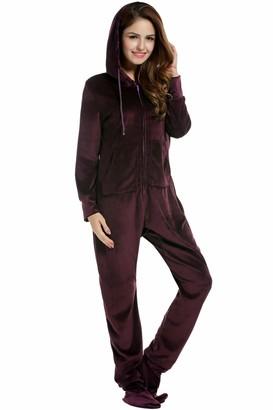 Unibelle Women's Jumpsuit Fleece Onesie Jumpsuit Onesie Jumpsuit with Footed Tracksuit Full Body Suit House Suit with Hood and Zip - Purple - XXL