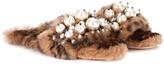 Miu Miu Faux pearl-embellished fur slippers