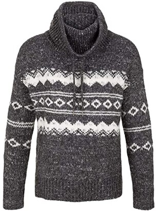 Tribal Long Sleeve Jacquard Cowl Neck Sweater (Heather Charcoal) Women's Sweater