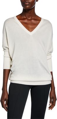 Derek Lam Enzyme Cashmere/Silk Batwing-Sleeve V-Neck Sweater
