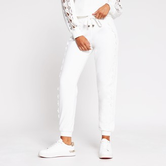 River Island Womens White lace detail jogger