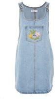 Glamorous **Embroidered Denim Pinafore Dress