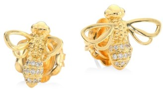 Temple St. Clair Garden Of Earthly Delights Diamond & 18K Gold Bee Bellina Earrings