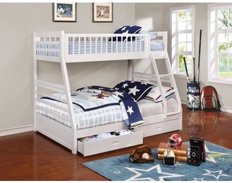 Coaster Company Coaster Ashton bunk bed, twin over full in white. Two-drawer under bed storage included.