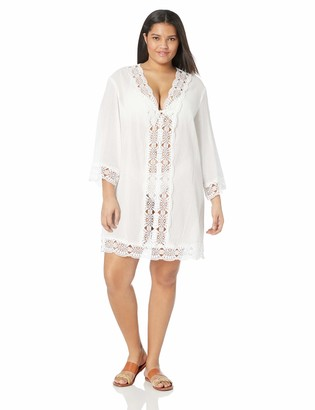 La Blanca Women's Lace V-Neck Tunic Dress