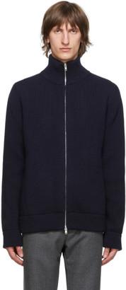 Maison Margiela Navy Wool Cardigan Stitch Zip-Up Sweater